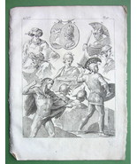 WARRIORS Lydian Syrian Etruscan - 1774 Antique Print Copperplate Engraving - $8.10