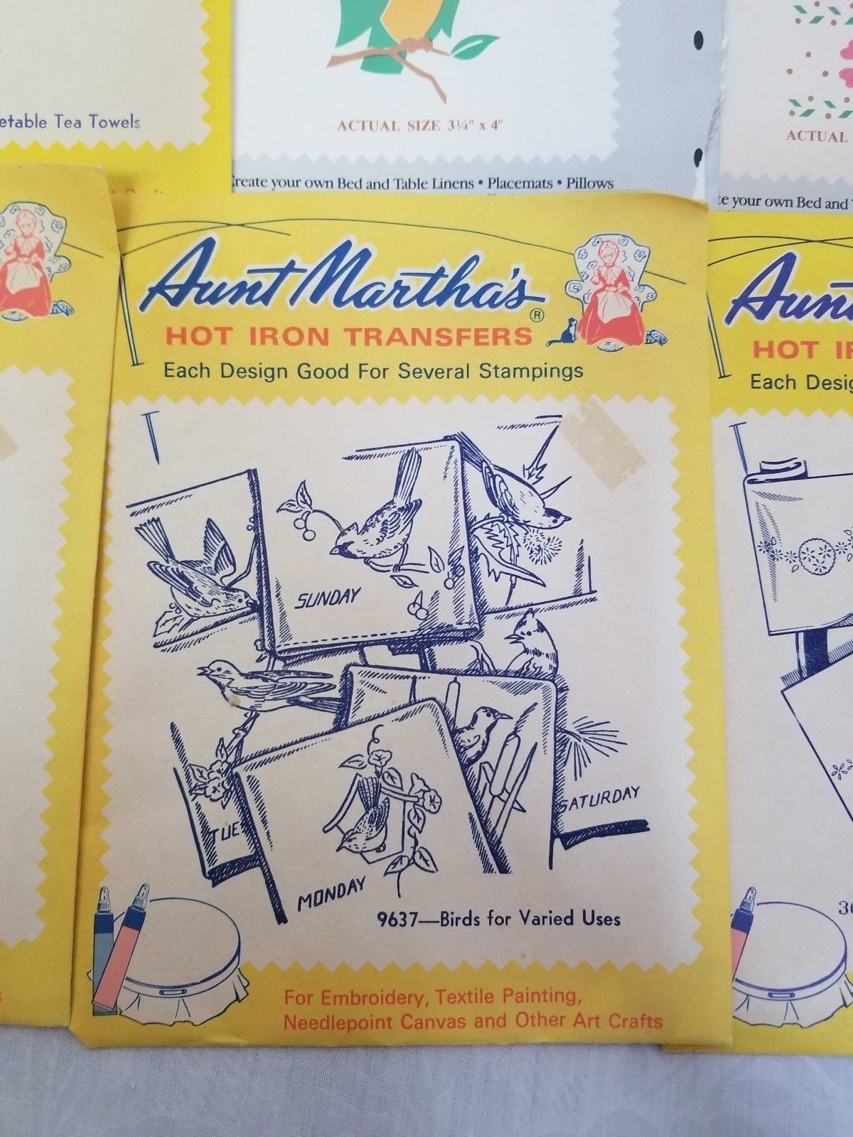 Aunt Martha's Hot Iron Transfers Weekday Birds 9637 Embroidery Pattern