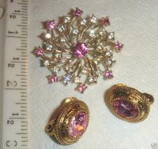 VTG CZECH PINK GLASS FLOWER NECKLACE RHINESTONE BROOCH HUGE CLIP EARRING... - $237.99