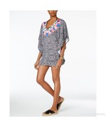 NEW Bar III Feathered Daze Printed Caftan Tunic Cover Up L Large Multic... - $34.64