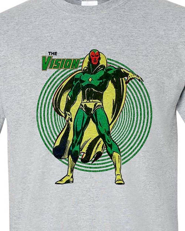 The Vision gray tee retro bronze age marvel comics avengers graphic t shirt