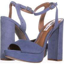 Steve Madden Brrit Platform Ankle Strap Sandals 993, Light Blue, 10 US - $31.67