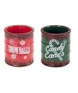 "Pack of 6 Vintage Red and Green Ceramic ""Snow Balls"" and ""Candy Canes"" C... - $66.32"