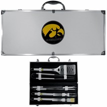 iowa hawkeyes 8 pc tailgater stainless steel bbq set with metal case - $126.34