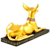 """Gold Tone Painted Egyptian Theme Style Anubis 11"""" Wine Bottle Holder image 4"""