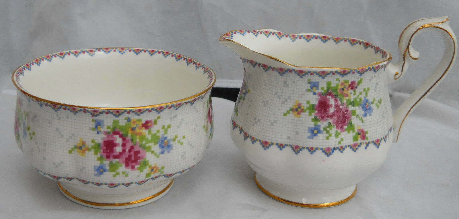 Primary image for ROYAL ALBERT PETIT POINT CREAMER PITCHER SUGAR BOWL ROSES ENGLAND BONE CHINA