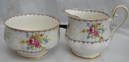 ROYAL ALBERT PETIT POINT CREAMER PITCHER SUGAR BOWL ROSES ENGLAND BONE C... - $33.62