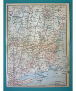 1899 MAP by Baedeker - USA NEW ENGLAND States + Railroads - $9.45