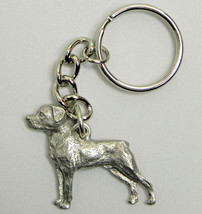 Rottweiler Dog Keychain Keyring Harris Pewter Made USA Key Chain Ring - $9.98