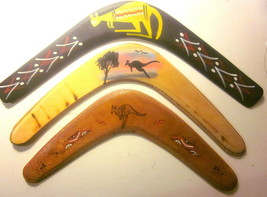 "3 Australian Wooden BOOMERANG Souvenir-type Pieces (14"" to 16"" in Length) - $29.35"