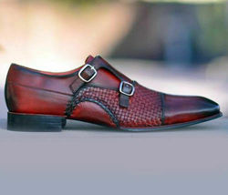 Handmade Men's Maroon Two Tone Double Monk Strap Dress/Formal Leather Shoes image 2