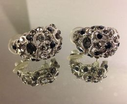 VTG Silvertone Filigree *Smoke/Black/Clear Rhinestones Cluster Pierced Earrings image 4