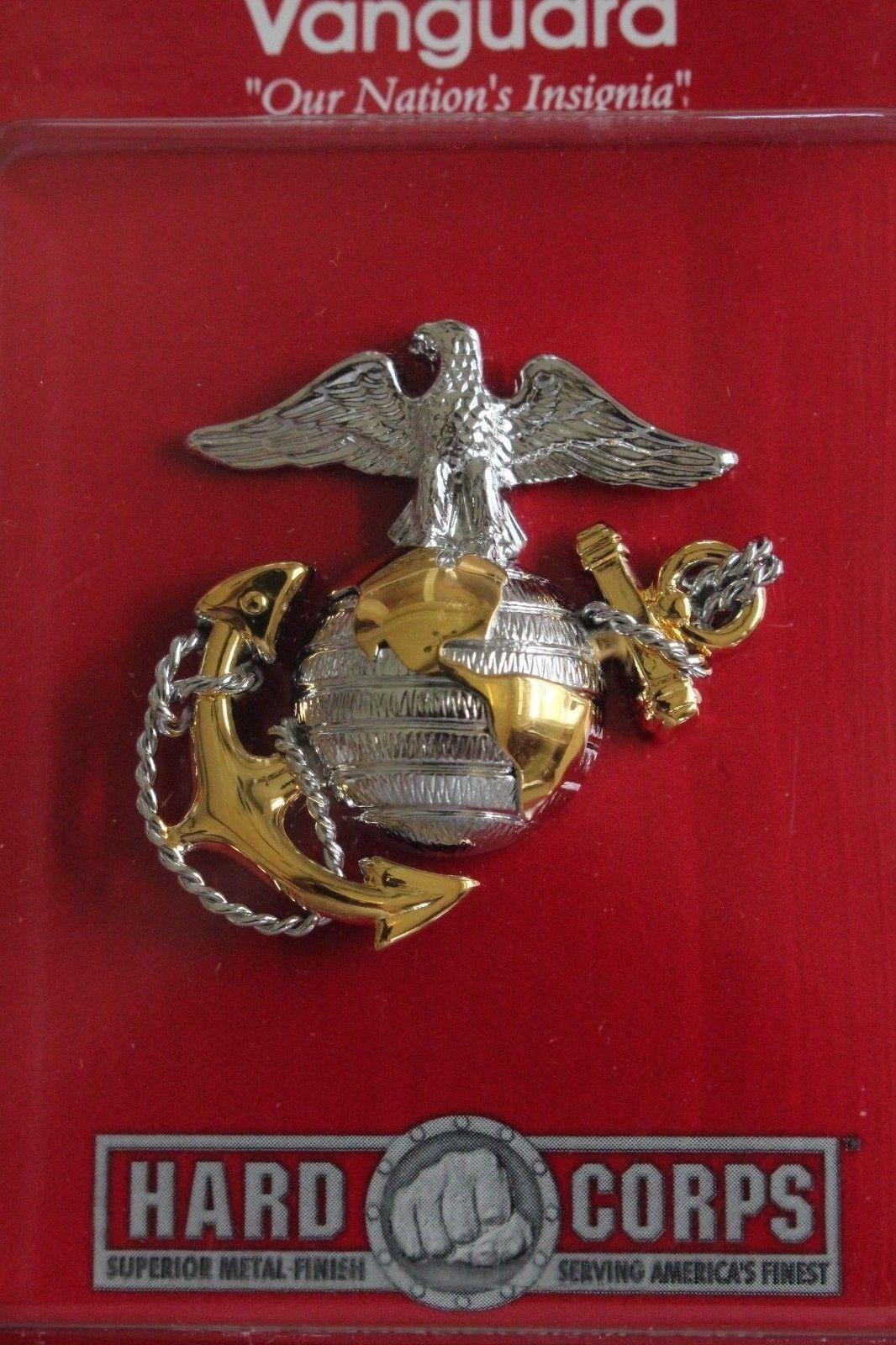 USMC MARINE CORPS BLACK CHIN STRAP BUTTON SET /& BADGE 4 ENLISTED COMBINATION CAP