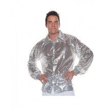 Under Wraps Silver Sequin 70's Disco Adult Mens Halloween Costume Shirt ... - $19.99