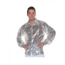 Under Wraps Silver Sequin 70's Disco Adult Mens Halloween Costume Shirt ... - £15.70 GBP