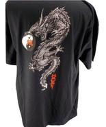 YEAR OF THE DRAGON  SZ XL  BLACK T-SHIRT  W/ YIN/YANG SYMBOL  CREW NECK ... - £15.69 GBP