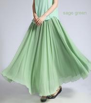 CHIFFON MAXI Skirt Sage-Green Long Silk Chiffon Maxi Skirts Bridesmaid Skirts image 9