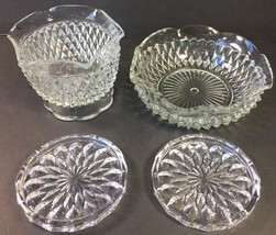 4 Clear Cut Glass Bowl Candy Dish Coasters Ring Jewelry Dish Sawtooth St... - $17.41