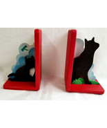 Wood Black Kitty Cat Kitten Bookends Figurine Statue Red Black White - $24.99