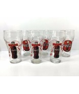 NEW 2001 Coca Cola 16 oz Drinking Glasses Christmas Coke Logo Red Bow Se... - $56.05