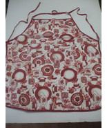 Kitchen Apron 100% Cotton Pink And Burgundy - $21.77