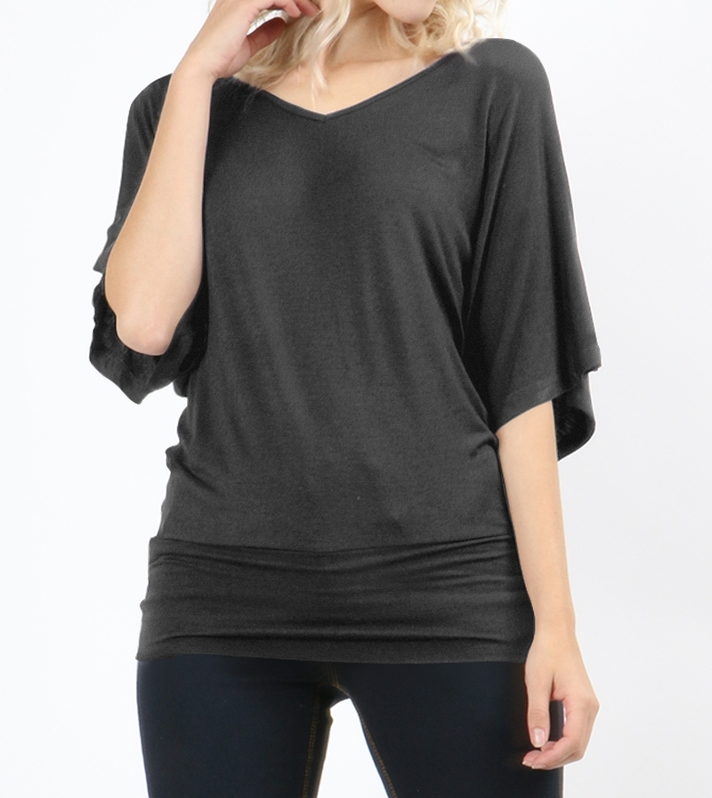 Dolman Sleeve Tops, Dolman Top with Banded Bottom, Charcoal, Colbert Clothing