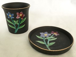 Beautiful Vintage Ardalt Japan Black Matte Flowered Ceramic Cup & Dish Set - $22.93