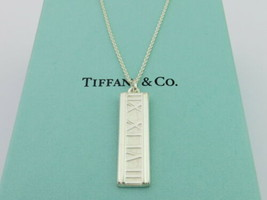 Authentic TIFFANY & CO Sterling Silver Atlas Bar Pendant Necklace - $115.18