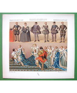 FRANCE Costume of Kings Queens 16th 17th C - COLOR Antiqe Print  A. RACINET - $6.75
