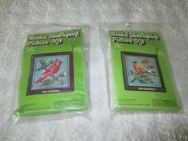 2 -1976 Walco BEADED NEEDLEPOINT PICTURE  Kits w/Frames - Cardinal & Gol... - $14.85