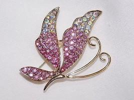 Gold W. Fuchsia, Pink /AB Rhinestone Crystal Butterfly Brooch Pin /W. GI... - $11.99