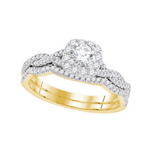 14kt Yellow Gold Round Diamond Twist Bridal Wedding Engagement Ring Set 5/8 Ctw - $1,157.23