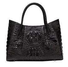 New Black Italian Leather Crocodile Embossed Tote Satchel Croc Handbag P... - $168.25