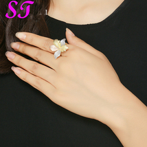 Fashion AAA Cubic Zircon Leaf Ring  3 Tones Gold Open Cuff Wedding CZ Rings - $16.00