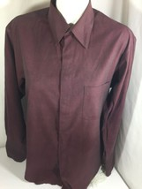Alfani Man Burgundy Button Up Shirt Long Sleeve SizeM Elegant In Style B... - $14.03