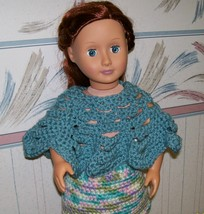 American Girl Doll Crocheted Blue Poncho, Handmade  OOAK, 18 Inch Doll - $15.00