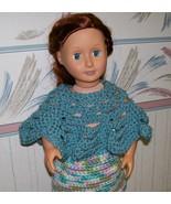 American Girl Doll Crocheted Blue Poncho, Handmade  OOAK, 18 Inch Doll - $15.00