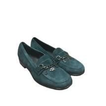 FRANCO SARTO Suede Loafers Shoes Sz 7.5 Green Chain Charms - $28.04