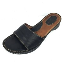 Women's BORN W3150 Black Leather Stitch Detailed Open Toe Slide Sandals Size 8 - $24.74