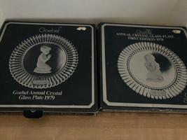 Goebel Two (2) 1978/79 Praying Boy And Girl Plates Crystal Glass Plates Germany - $24.75