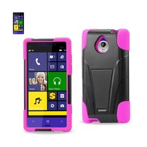 REIKO HTC 8XT HYBRID HEAVY DUTY CASE WITH KICKSTAND IN HOT PINK BLACK - $9.25