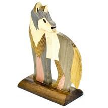 Northwoods Handmade Wooden Parquetry Standing Wolf Sculpture Figurine image 2