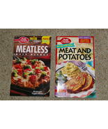 Lot of 2 Betty Crocker Cookbooks Meatless and Meat & Potatoes Paperback - $10.00