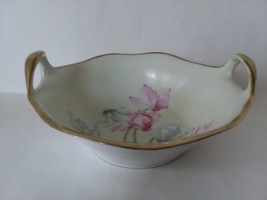 Fine Bavarian China Hand Painted Oval Two Handled Serving Bowl Signed - $69.92