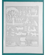 EGYPT Scenes from Life Wine Harvest Fishing Sailing Ships - 1828 Antique... - $14.40
