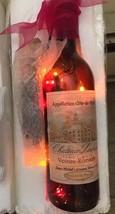 Wine Bottle Light Nightlight Red Wine Grapes Ribbon Bright French Label New - $14.23