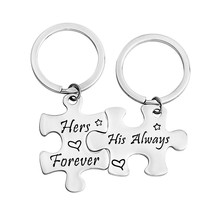 Couples Keychain His Always Hers Forever Keychain Puzzle Pieces Gift Wed... - $29.99
