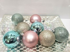 "Coastal Nautical Beach Aqua Pink Gold Glitter Christmas Ornaments 2.5"" S... - $16.99"