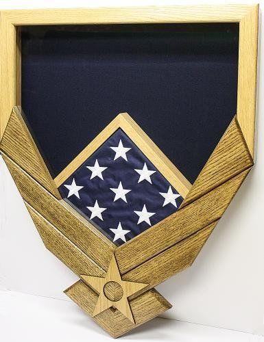 Primary image for AIR FORCE LOGO NATURAL WALNUT MILITARY AWARD SHADOW BOX MEDAL DISPLAY CASE