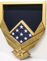 Air Force Logo Natural Walnut Military Award Shadow Box Medal Display Case - $360.99